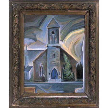 First Church          Oil/Canvas, image 20x16in, in antique frame