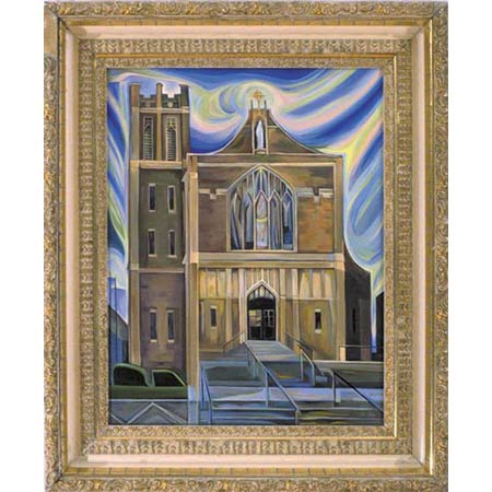 Tenth Church          Oil/Canvas, image 20x16in, in antique frame