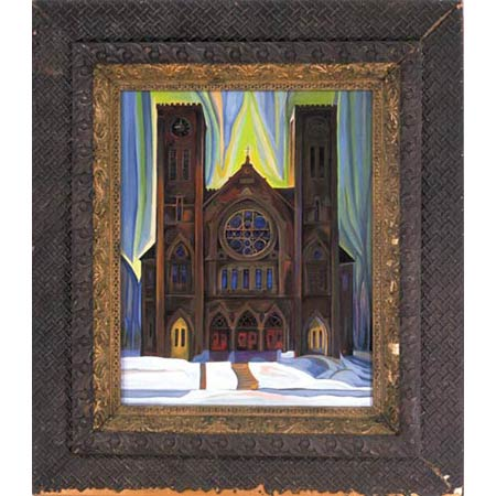 Twelvth Church          Oil/Canvas, image 20x16in, in antique frame