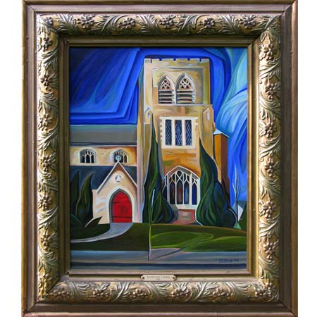 Fourteenth Church          Oil/Canvas, image 20x16in, in antique frame