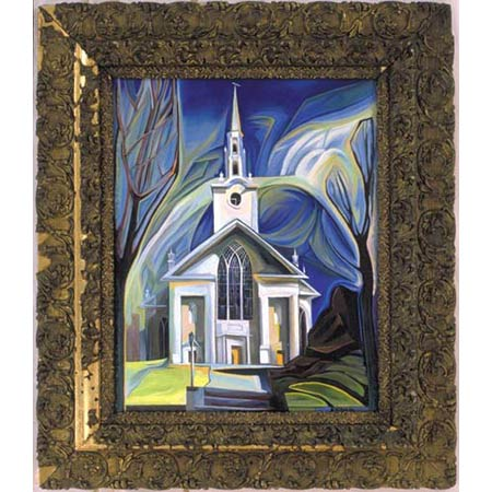 Second Church          Oil/Canvas, image 20x16in, in antique frame