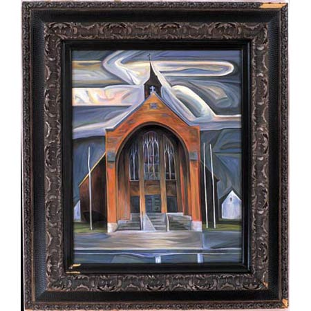 Third Church          Oil/Canvas, image 20x16in, in antique frame