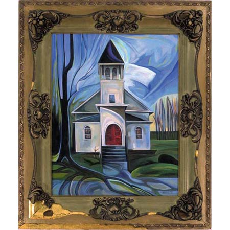 Fourth Church          Oil/Canvas, image 20x16in, in antique frame
