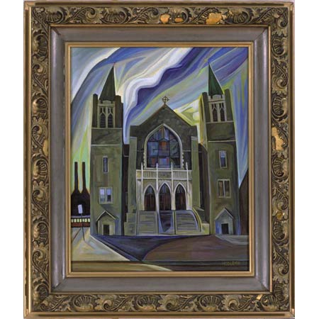 Fifth Church          Oil/Canvas, image 20x16in, in antique frame