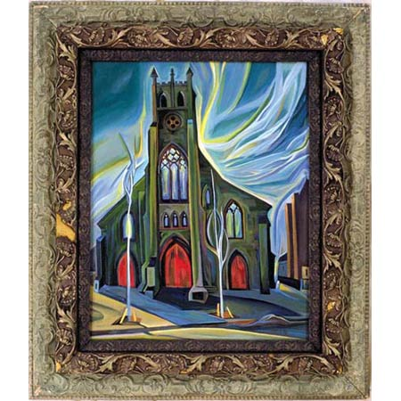 Seventh Church          Oil/Canvas, image 20x16in, in antique frame