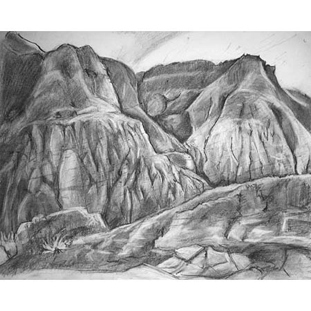 Badlands Study           Charcoal, 14x17in, 2003