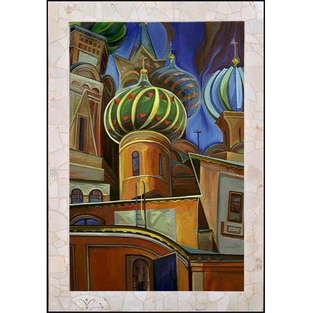 10 DAYS IN RUSSIA ||| From the Moscow             oil/panel, 28x40in, 1999